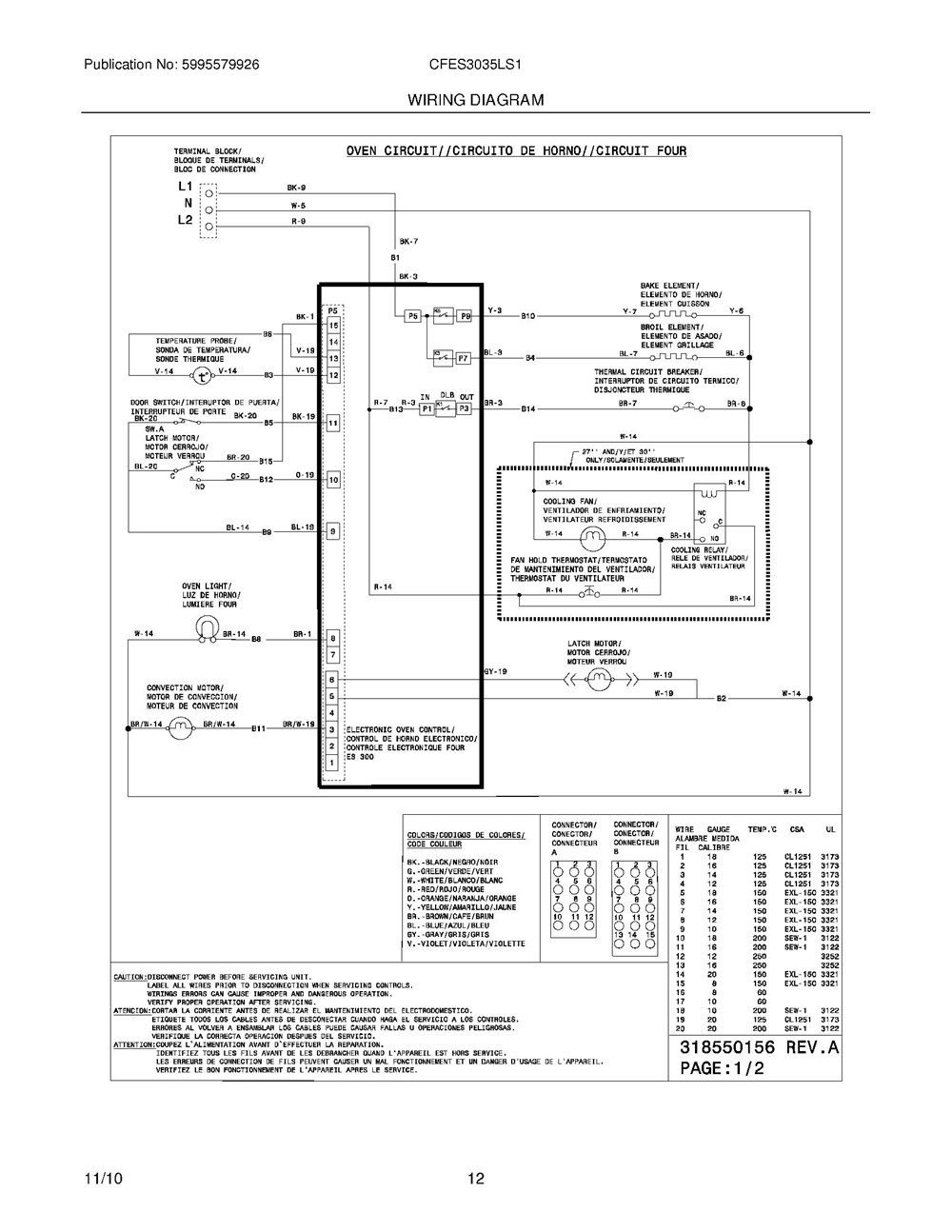 Cfes3035ls1 Frigidaire Company Appliance Parts Backguard 05body 07top Drawer 09door 01cover 10wiring Diagram