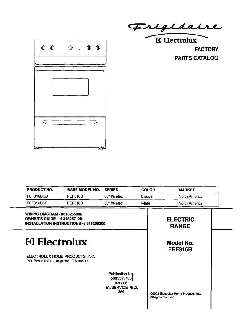 Fef316bsb Frigidaire Company 07top Drawer 09door 01cover 10wiring Diagram 11wiring