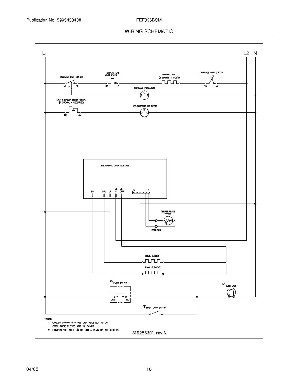 Fef336bcm Frigidaire Company Appliance Parts Backguard 05body 07top Drawer 09door 01cover 10wiring Diagram