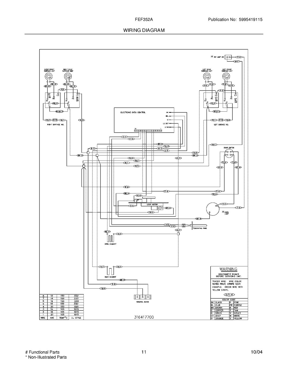 Fef352ash Frigidaire Company 07top Drawer 09door 01cover 10wiring Diagram 11wiring