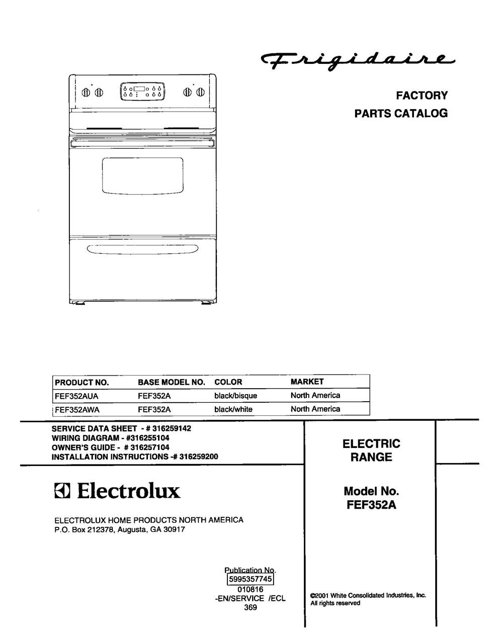 Fef352awa Frigidaire Company Backguard 05body 07top Drawer 09door 01cover 10wiring Diagram
