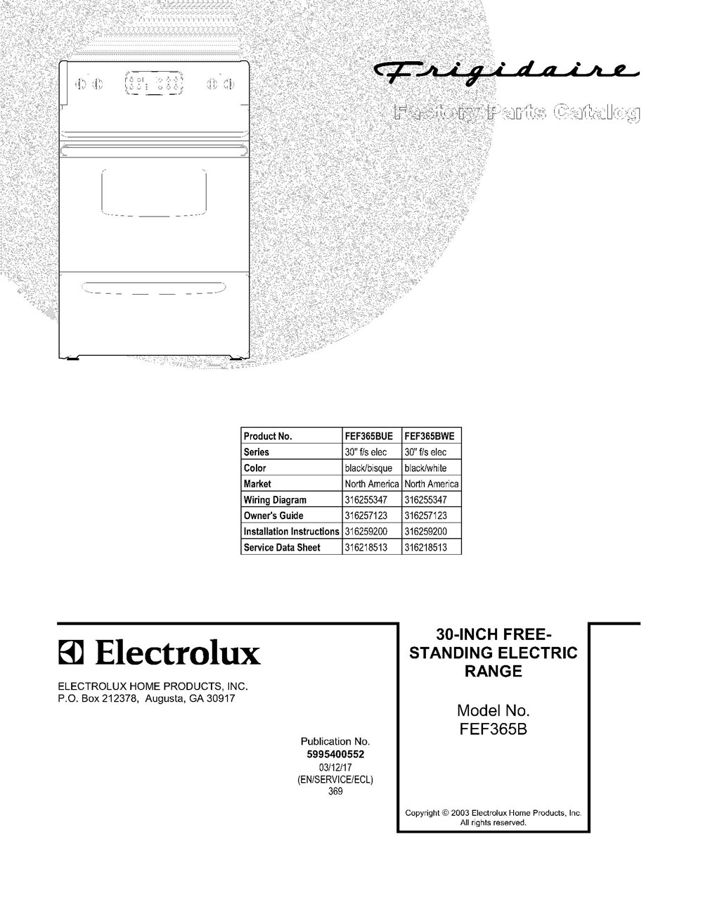Fef365bwe Frigidaire Company 07top Drawer 09door 01cover 10wiring Diagram 11wiring