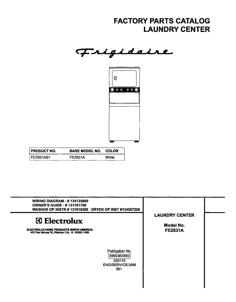 Fez831as1 Laundry Center Stacked Washer And Dryer Frigidaire Wiring Diagram Company