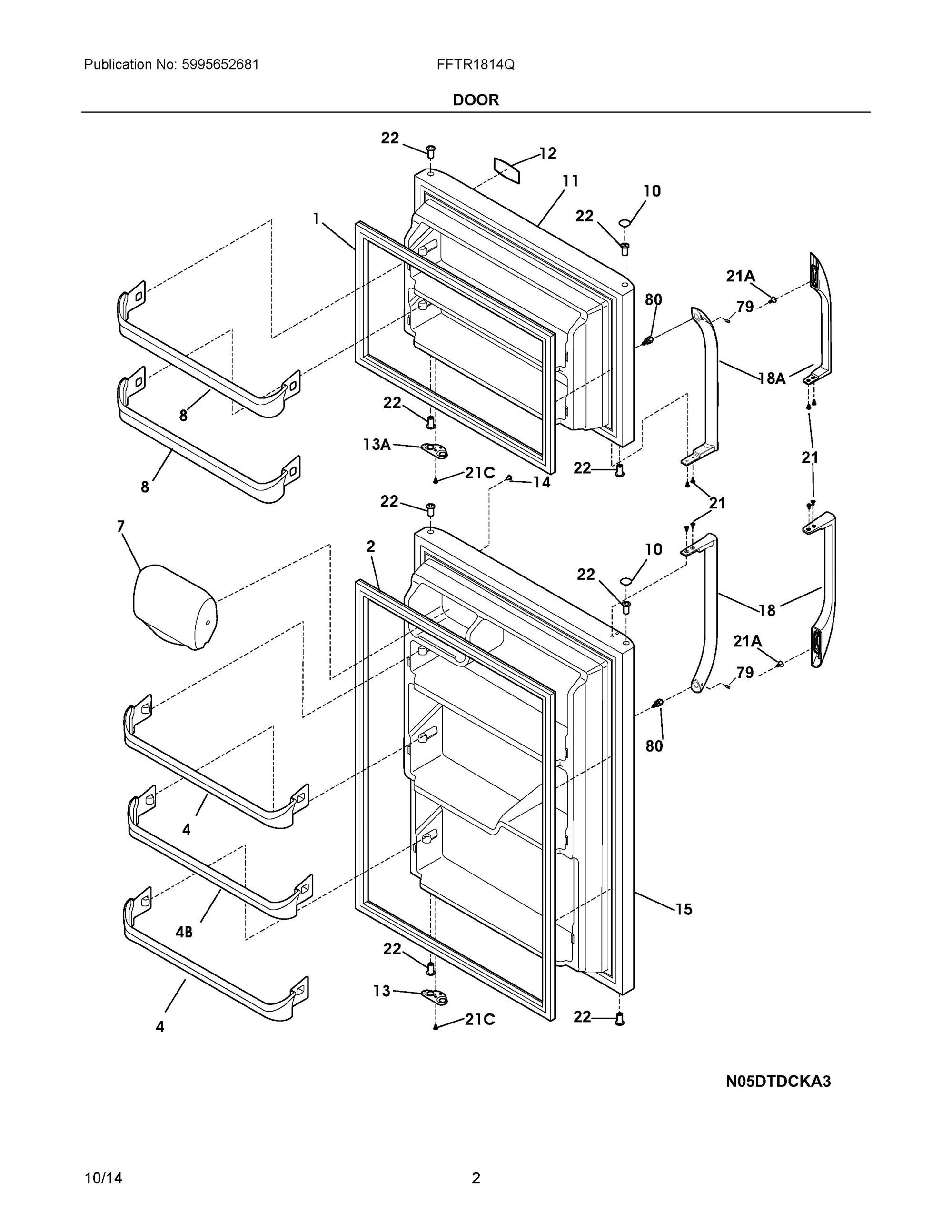 Fftr1814qw0 Door Frigidaire Company Appliance Parts