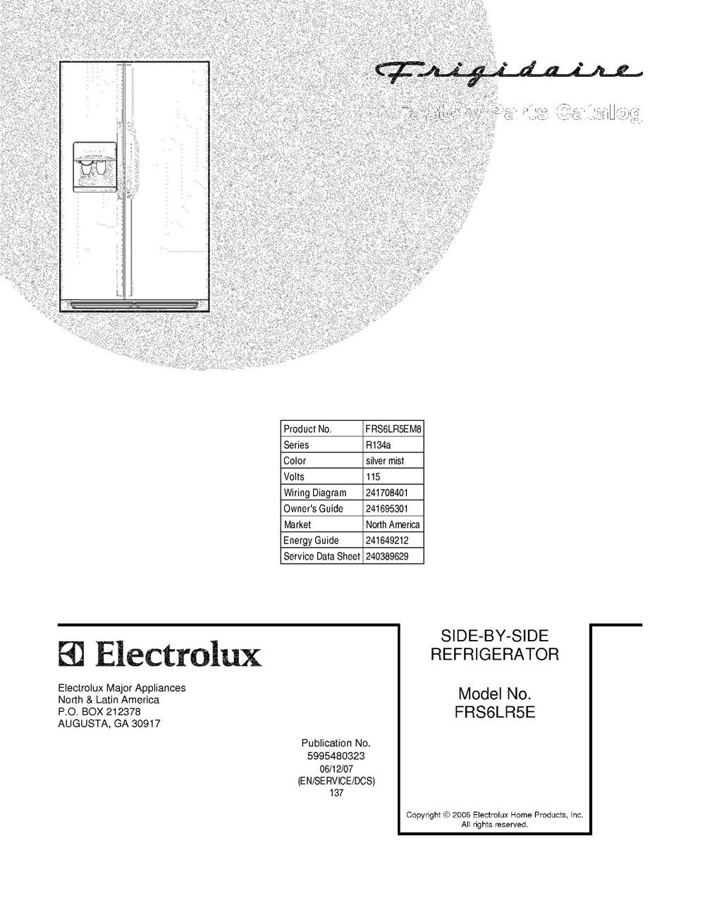 frs6lr5em8 frigidaire company appliance parts