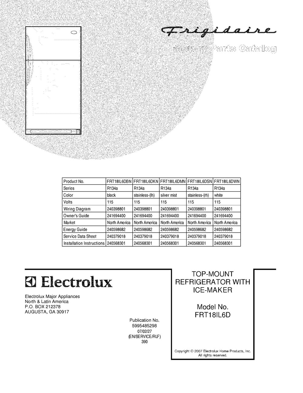 Frt18il6dbn Frigidaire Company Appliance Parts Electrolux Refrigerator Wiring Diagram