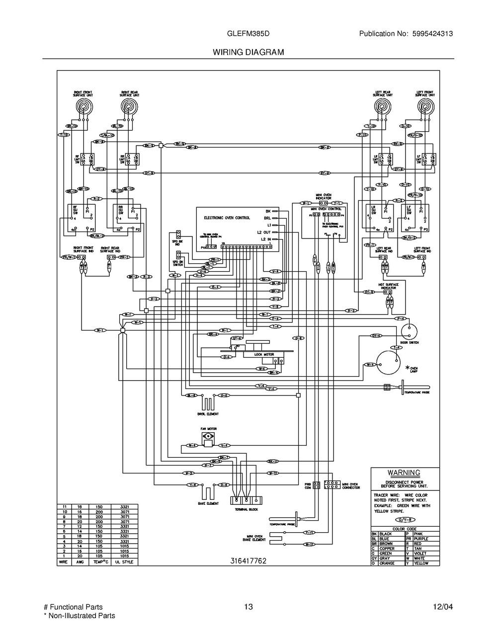 Glefm385dqb Frigidaire Company Appliance Parts Backguard 05body 07top Drawer 09door 01cover 10wiring Diagram