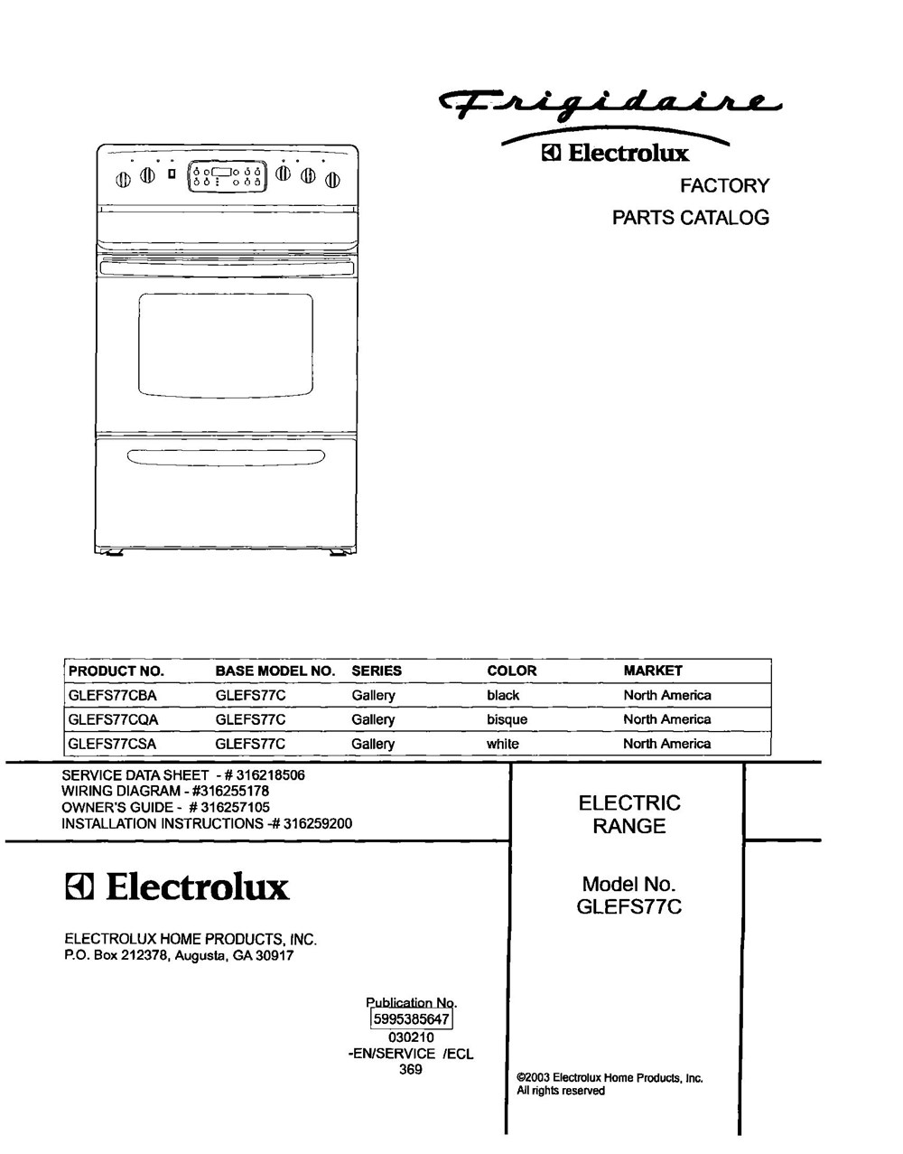 Glefs77csa Frigidaire Company Appliance Parts Backguard 05body 07top Drawer 09door 01cover 10wiring Diagram