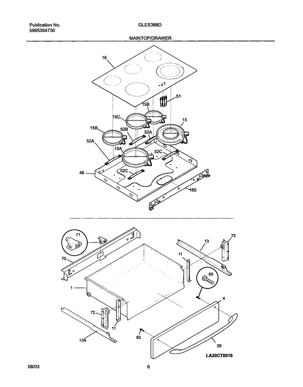 Gles388dba Frigidaire Company Appliance Parts Backguard 05body 07top Drawer 09door 01cover 10wiring Diagram