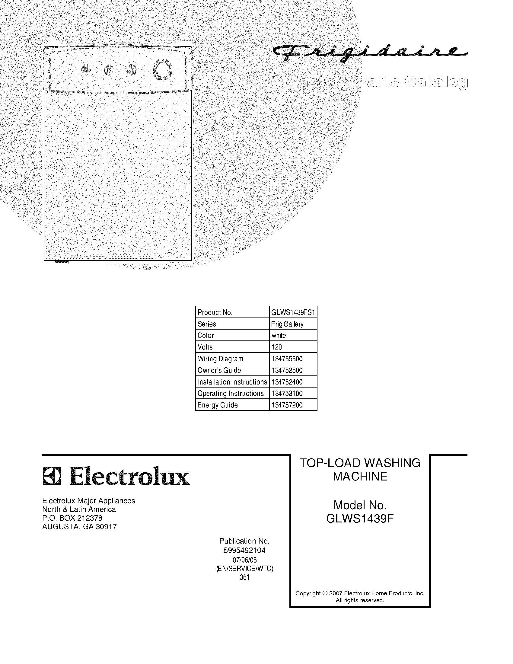 Frigidaire gallery top load washer wire diagram