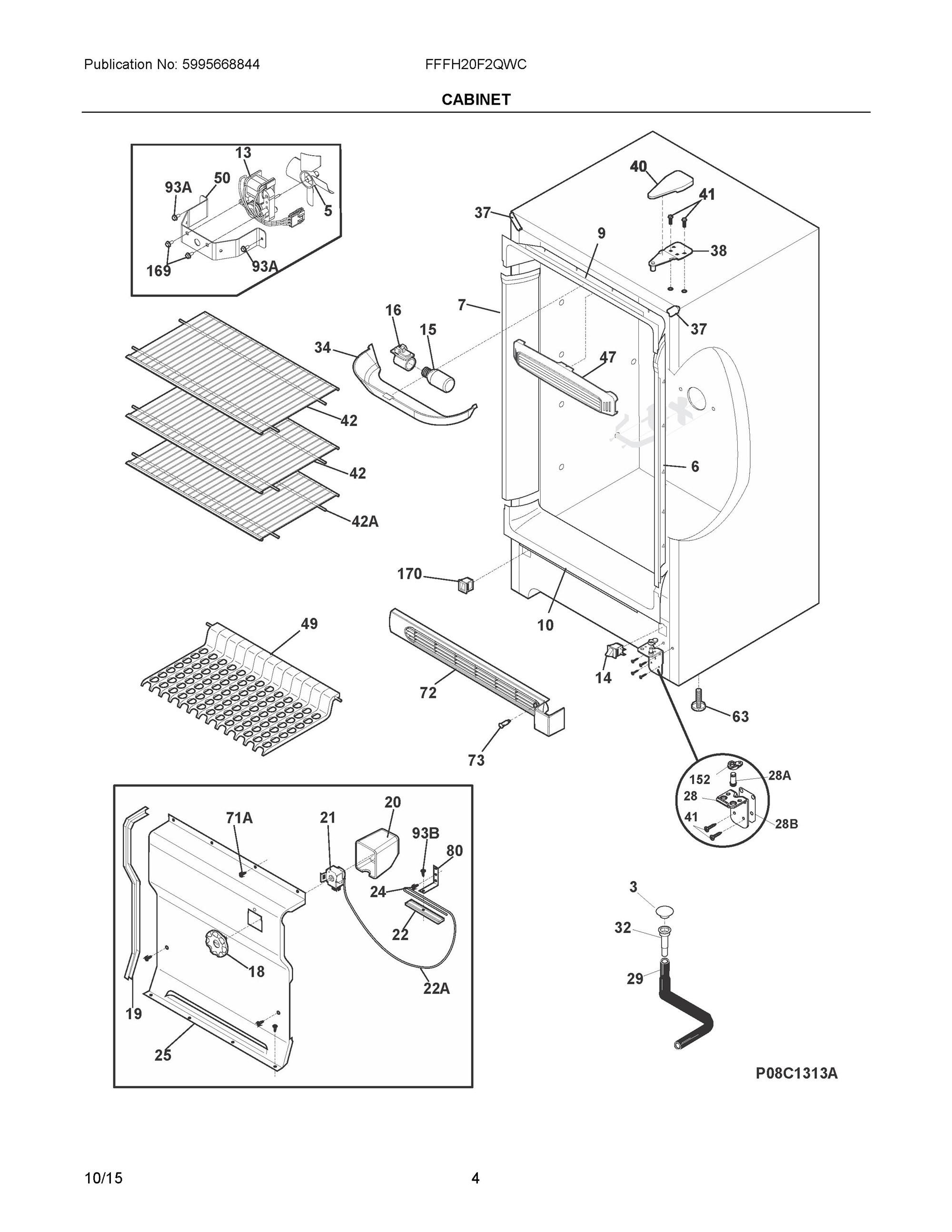 Fffh20f2qwc Cabinet Frigidaire Company Appliance Parts