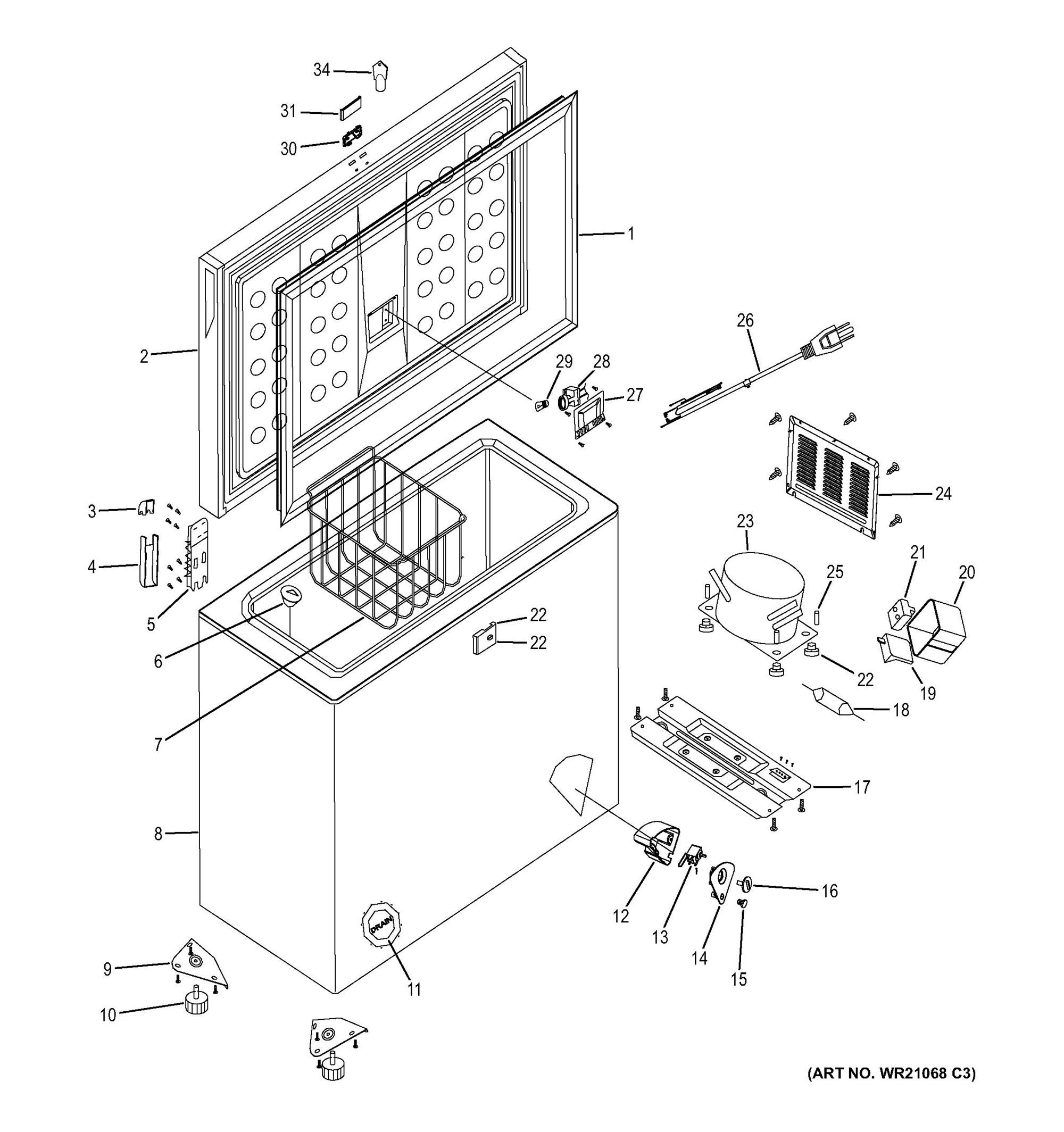 Fcm11phbww Freezer Parts General Electric Appliance