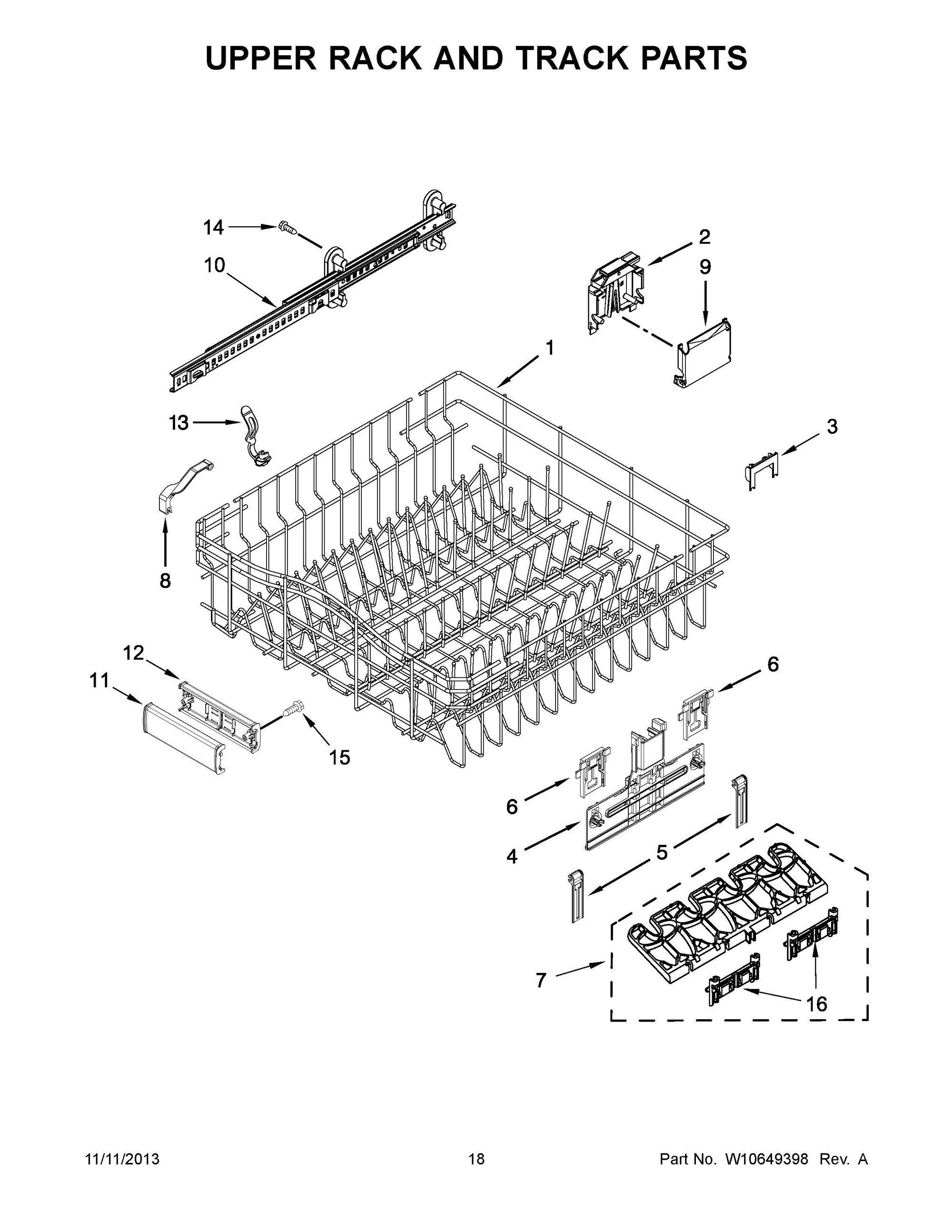 Kdte204dss0 upper rack and track parts undercounter dishwasher kitchenaid whirlpool - Kitchenaid dishwasher upper rack parts ...