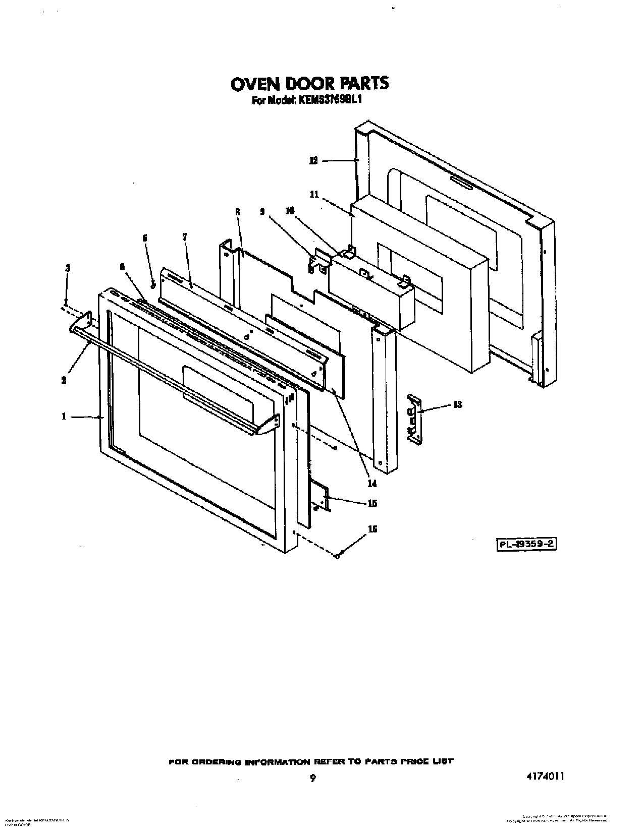 Kems376sbl1 Oven Door Lit Optional Built In Oven