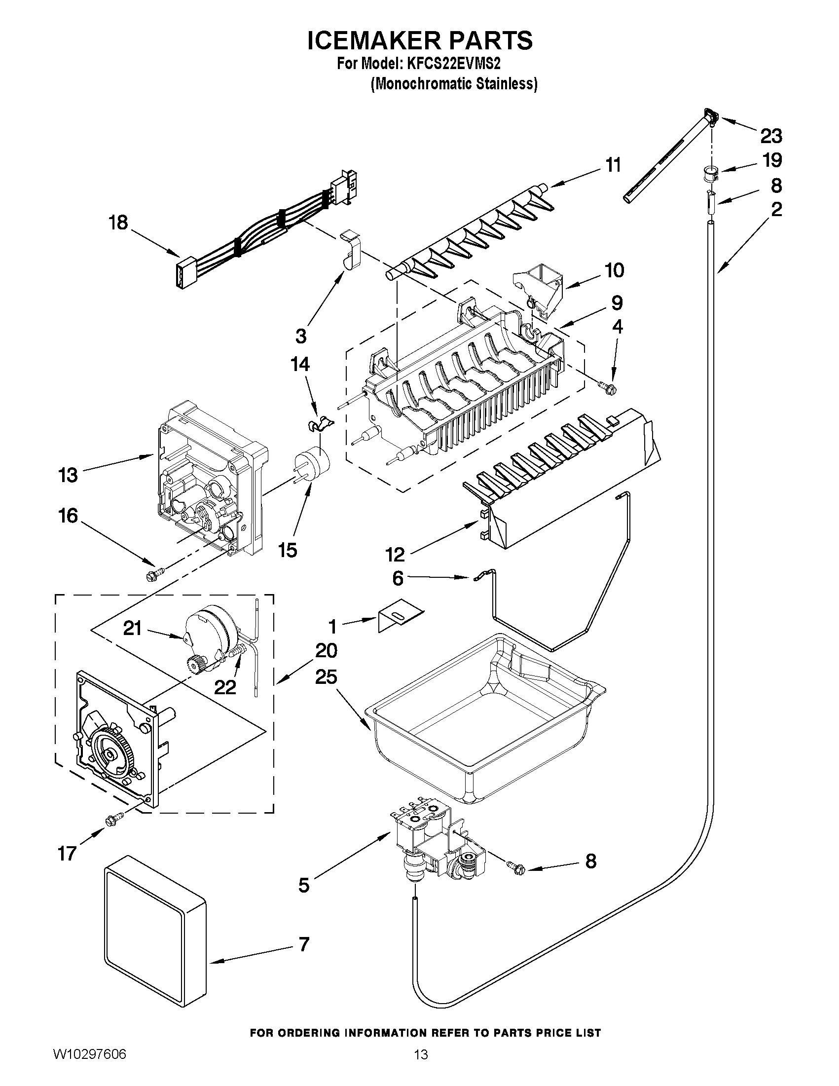 Kfcs22evms2 Icemaker Parts Refrigerator 21 8 Cu Ft