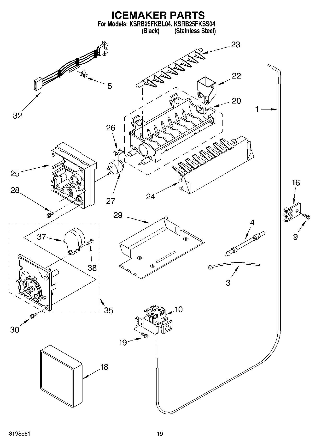 Ksrb25fkss04 Icemaker Parts Parts Not Illustrated