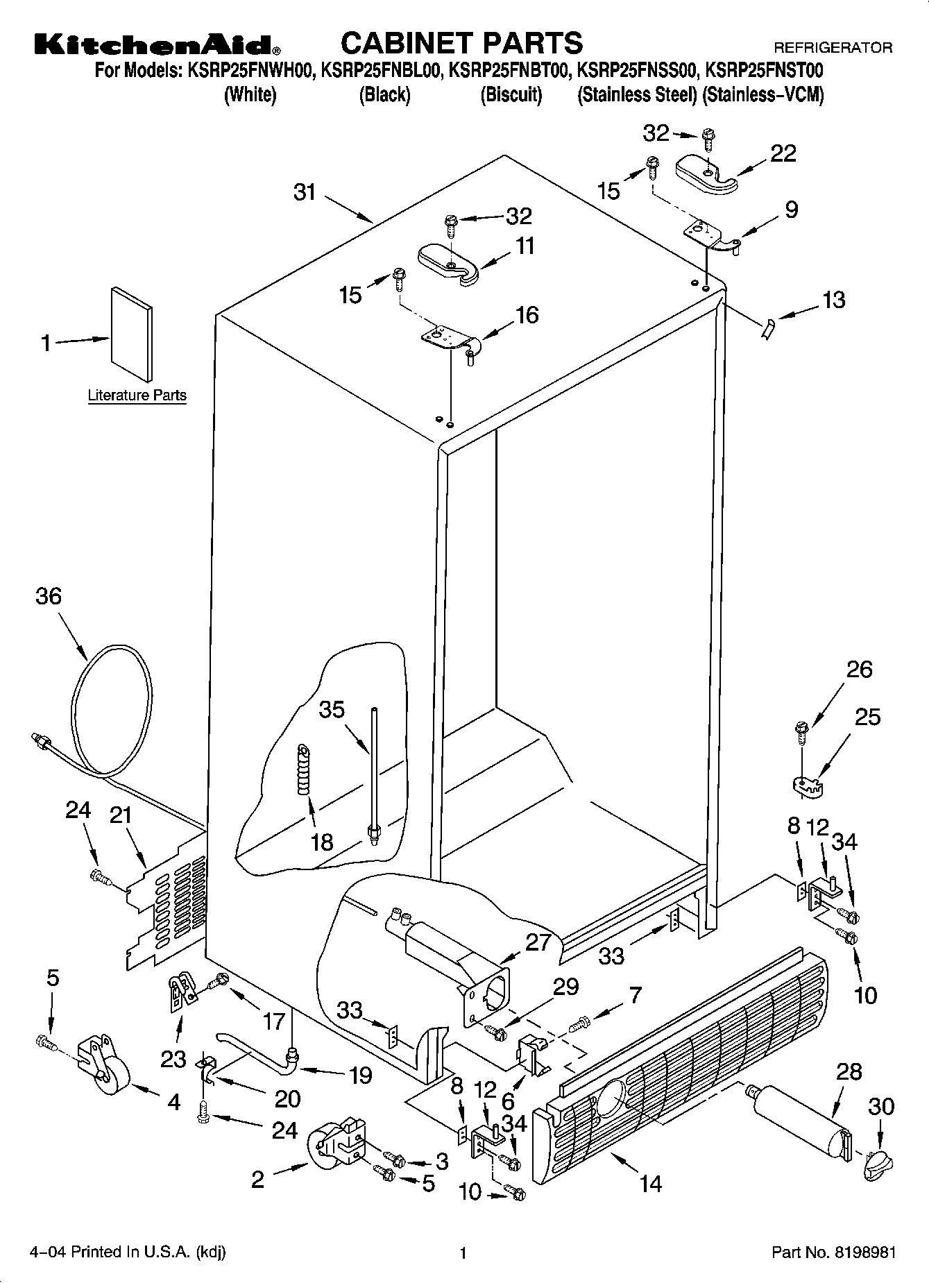 ksrp25fnbl00 cabinet parts refrigerator 25 cu ft. Black Bedroom Furniture Sets. Home Design Ideas