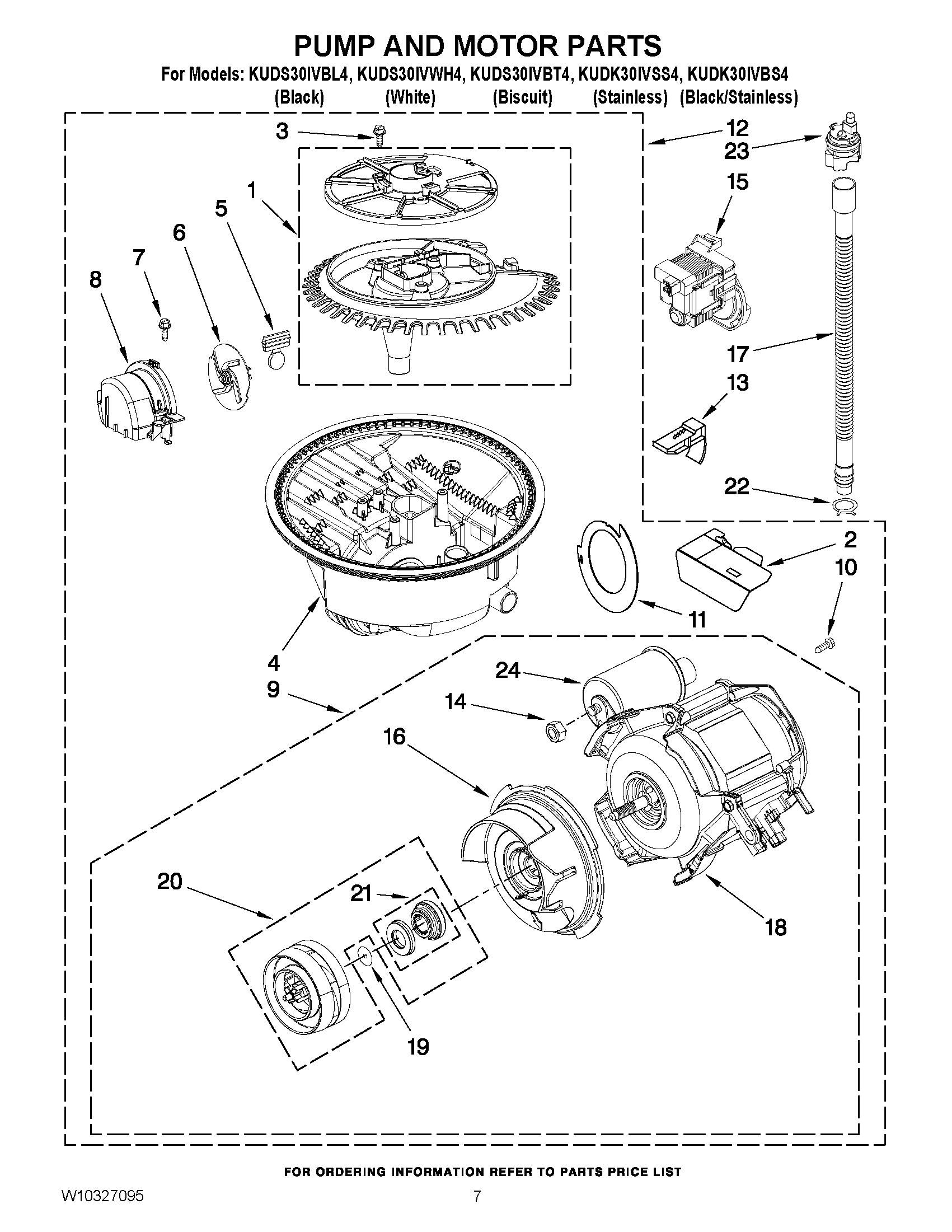 Kuds30ivbl4 pump and motor parts undercounter dishwasher built in superba series - Kitchenaid superba microwave parts ...