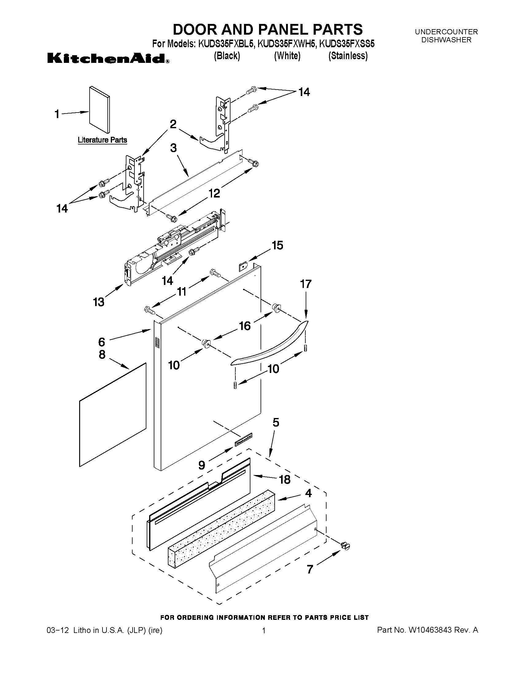 Kitchenaid dishwasher architects series 4-cycle 5-option