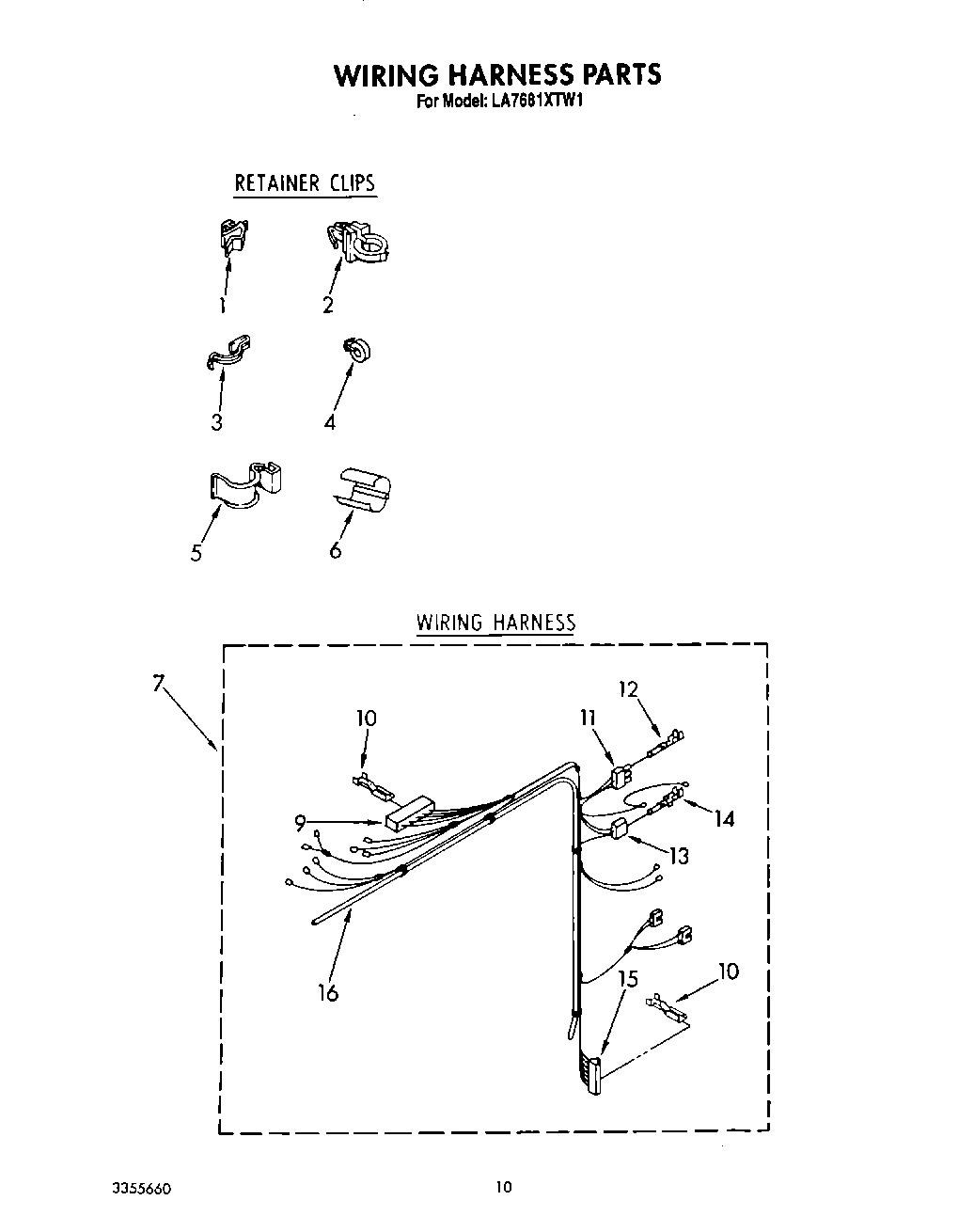 Wiring Harness Clip 90016 Another Blog About Diagram 1986 Yamaha Fazer Diagrams La7680xtg1 Whirlpool Corporation Appliance Parts Rh Savemoreonparts Com