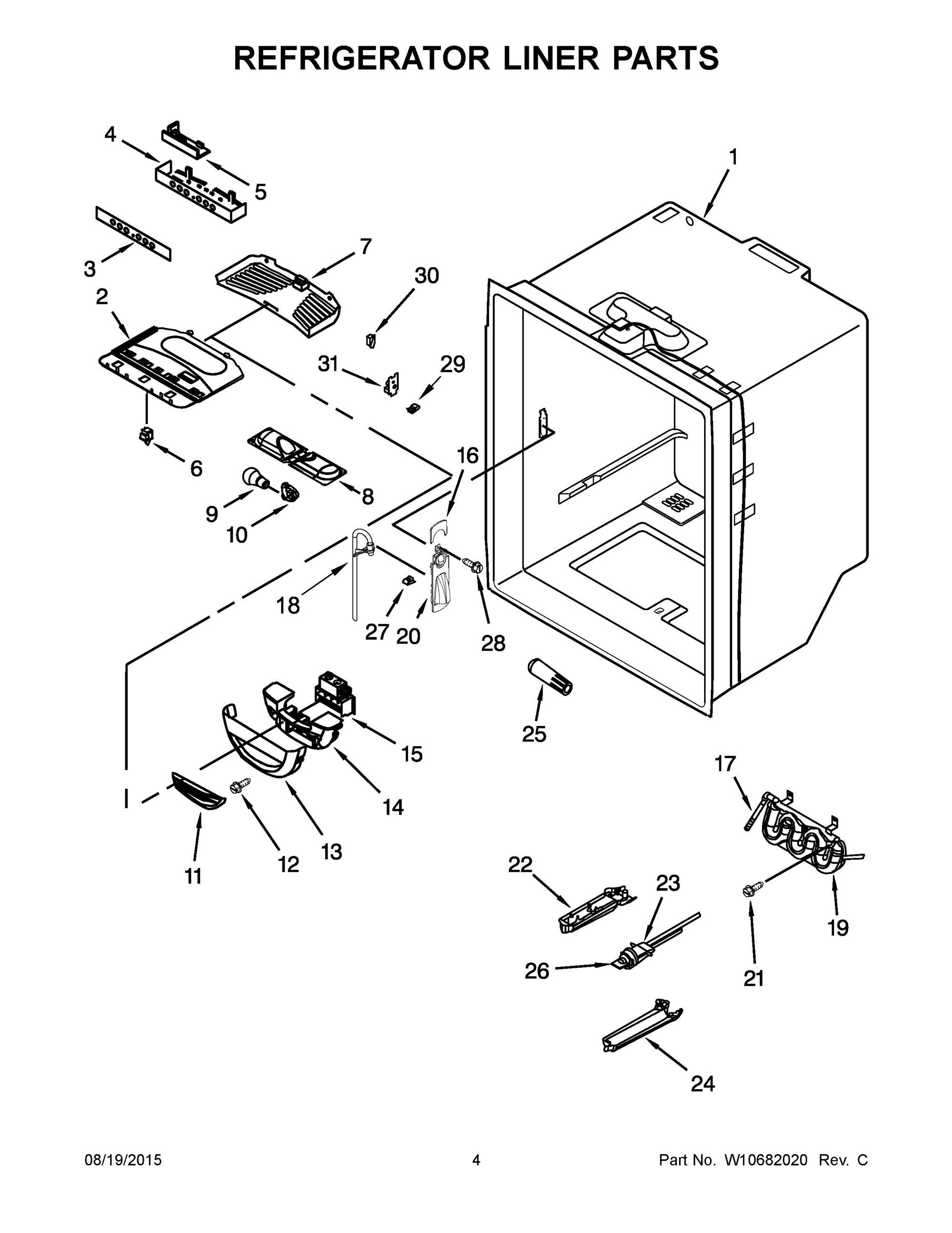 Kbfs20ecms00 Refrigerator Liner Parts Refrigerator